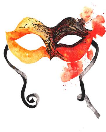 CARNAVAL: aquarelle masque de carnaval dessiné à la main, rouge orangé, recouverte de délicate dentelle noire