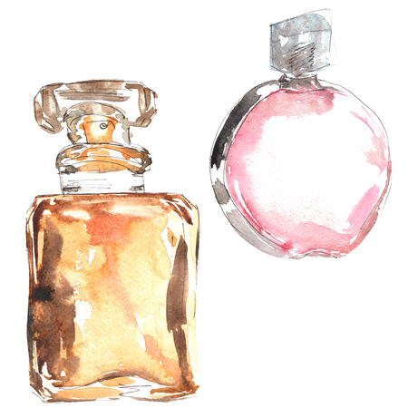 refined: watercolor hand-drawn sketch - a refined perfume Stock Photo