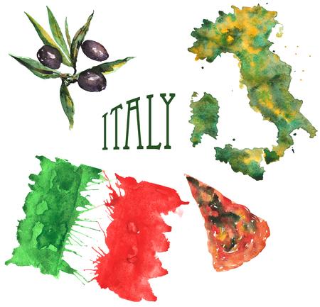 이탈리아, 국기, 국가 개요, 피자와 올리브 슬라이스 이루어진 테마를 설정하는 손으로 그린 수채화