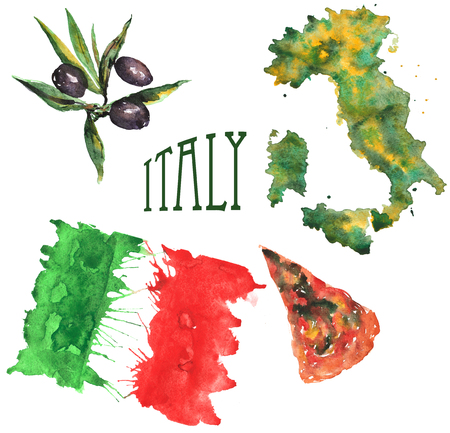hand-drawn watercolor set on the theme of Italy, consisting of a flag , the outline of the country , a slice of pizza and olive Stockfoto