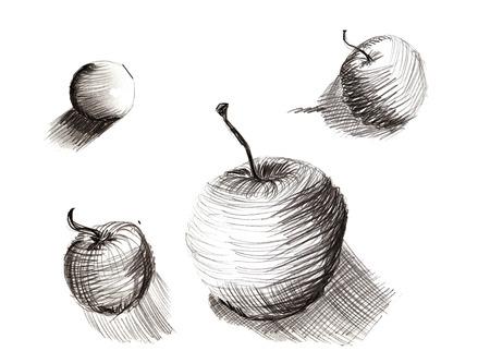 손으로 그리는 연필 스케치 세트 - 그리기 훈련, 구형 사과의 범위와 적용 스톡 콘텐츠