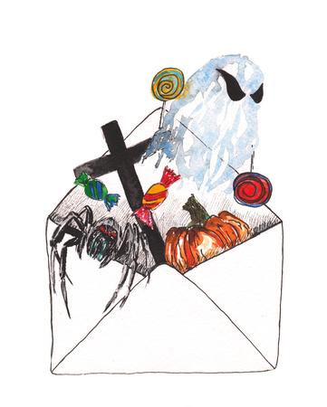 envelop met de symbolen van Halloween - een spinnenweb, spook, snoep, kruis, graf, pompoen Stockfoto