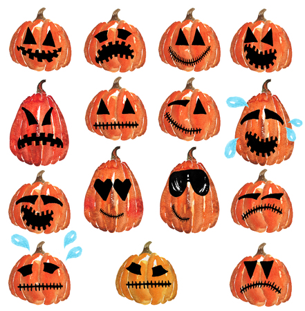 Smileys Color Pumpkin Jack - sadness, joy, sorrow , laughter , smile , anger , anger , despair , cool glasses, Hand-drawn watercolor