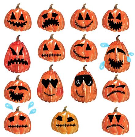 Smileys Color Pumpkin Jack - verdriet, vreugde, verdriet, lachen, glimlach, woede, woede, wanhoop, koele glazen, met de hand getekende aquarel Stockfoto