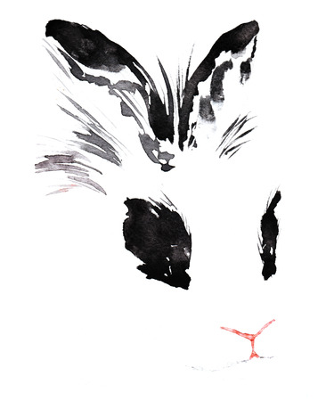 귀와 눈에 검은 반점이있는 총구 마술 흰 토끼, 손으로 만든 수채화 스케치