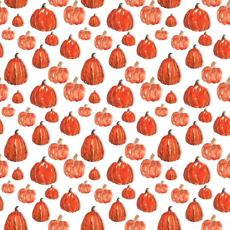 pumpkin patch: Seamless pattern of pumpkins , hand-painted with watercolors Stock Photo