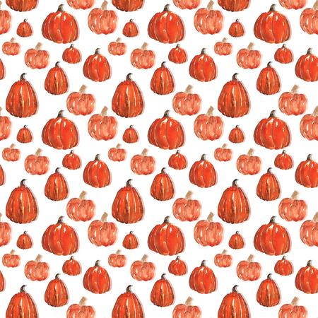 Seamless pattern of pumpkins , hand-painted with watercolors 版權商用圖片