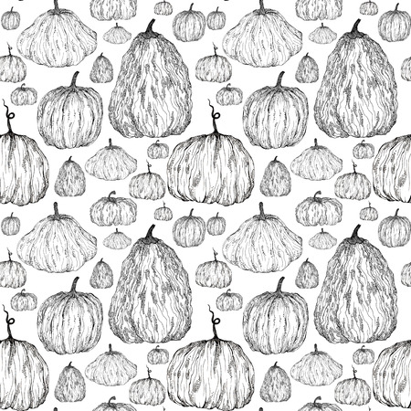 Seamless pattern of pumpkins , hand-painted with Liner