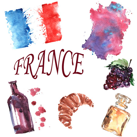 hand-drawn watercolor set on the theme of France , consisting of flag outline country , bottle of wine , grapes, croissant , perfume