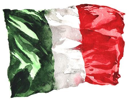 Met de hand getekende aquarel vlag van Italië - een realistische, wapperen in de wind Stockfoto
