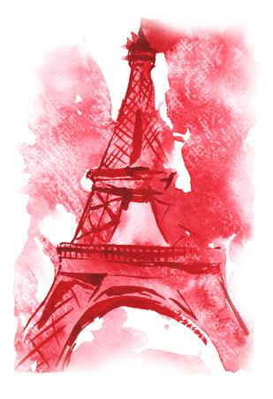 aquarel met de hand getekende schets - de Eiffeltoren, Frankrijk Stockfoto
