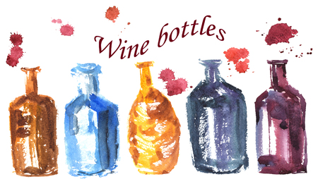 wine bottles: hand-drawn watercolor sketch set in the technique , which consists of different shaped bottles Stock Photo