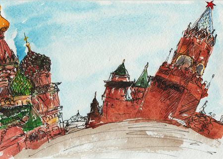 savior: landscape sketch technique - Red Square with the Kremlin placed on it and the temple of Christ the Savior