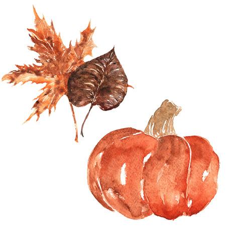 set met de hand geschilderde aquarellen - herfstbladeren en pompoen