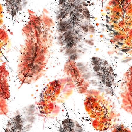 naadloze patroon van gekleurde veren, geschilderd in aquarel