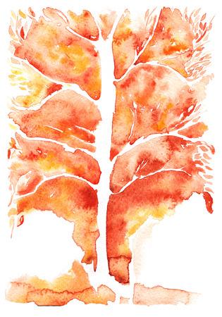 Aquarel abstracte achtergrond, oranje symboliseren herfst boom met bladerloze bladeren