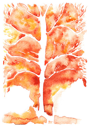leafless: Watercolor abstract background , orange symbolizing autumn tree with leafless leaves