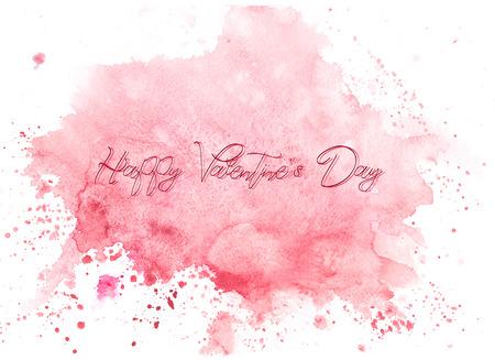수채화 추상화 배경 섬세하고 부드러운, 반짝이는 수채화. 해피 발렌타인 데이 - 비문 스톡 콘텐츠