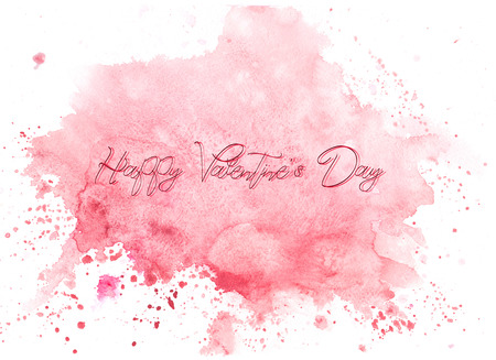 watercolor abstraction background delicate soft , shimmering watercolors. with an inscription - a Happy Valentines Day 版權商用圖片