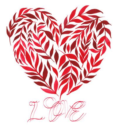 심장, 식물로 구성된 - 나뭇잎과 나뭇 가지를 손으로 그린 수채화