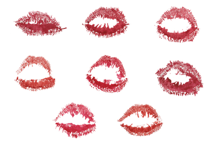 set - pink and burgundy lip prints