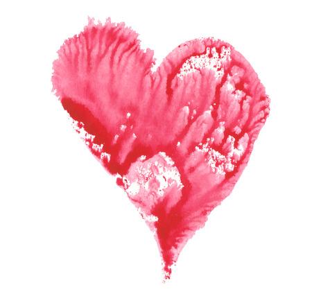 라즈베리 핑크 마음 수채화 색칠