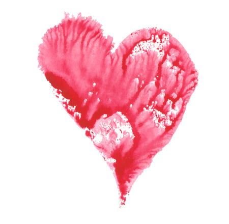 raspberry pink: raspberry pink heart painted in watercolor