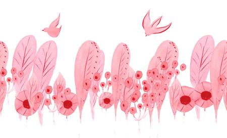원활한 패턴 - 분홍색 섬세한 식물 요소 - 잎, 꽃, 동그라미, 분야, stamens 및 가금류, 조류 스톡 콘텐츠