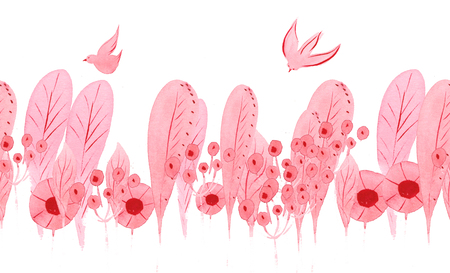 seamless pattern - pink delicate plant elements - leaves, flowers , circles , spheres , stamens and poultry, birds