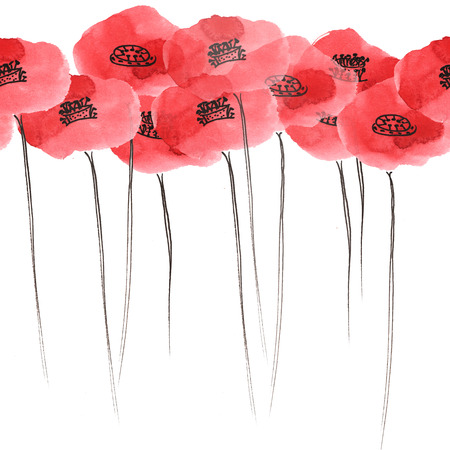 seamless pattern - poppies, painted by hand with watercolors