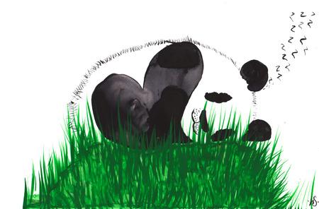 팬더, 손으로 그린 수채화, 푸른 잔디로 덮여 언덕에서 자고 스톡 콘텐츠