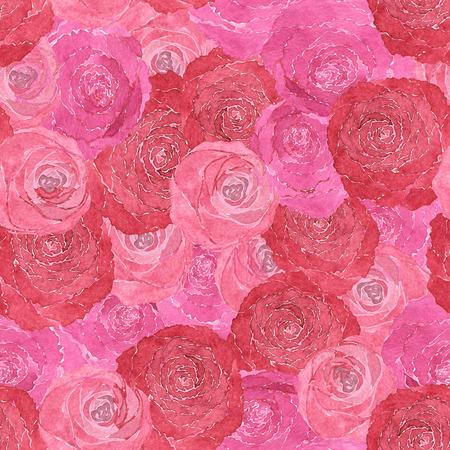 장미 손으로 그린 수채화의 원활한 패턴