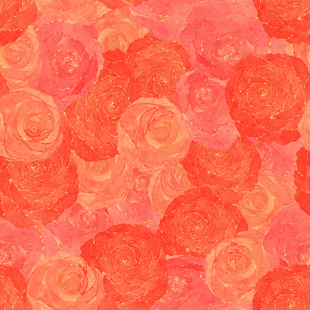 seamless pattern of roses hand-painted watercolor