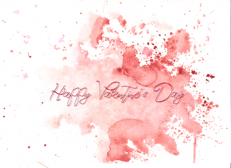 watercolor abstraction background delicate soft , shimmering watercolors. with an inscription - a Happy Valentine's Day