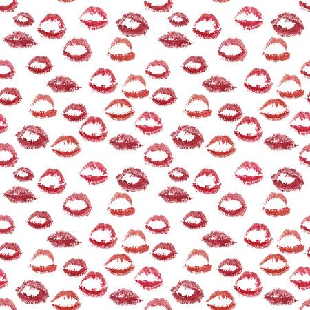 naadloze patroon - roze en bordeaux lip prints