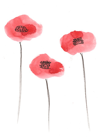 set - poppies, painted by hand with watercolors 版權商用圖片