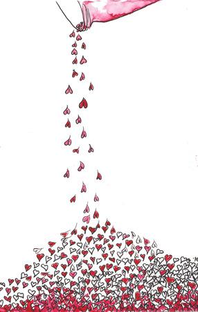 항아리에서 부어 많은 마음, 핑크, 크림슨, 레드 - 손으로 그린 수채화 물감