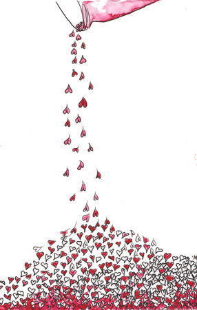 poured: poured from a jar many hearts , pink , crimson , red - hand-drawn watercolor Stock Photo