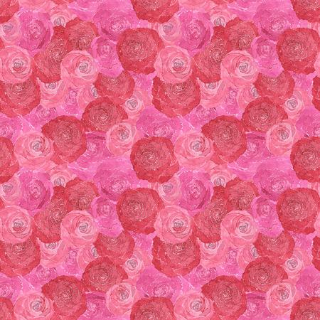 장미의 손으로 그린 수채화의 원활한 패턴 스톡 콘텐츠