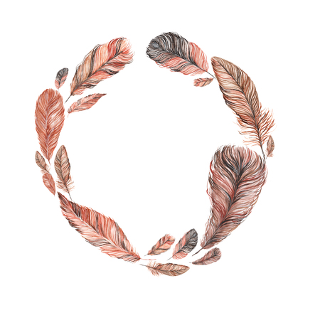 wreath, frame of feathers, hand-painted watercolor. Grey and its shades. It can be used for the development of a logo, corporate identity, an invitation to the wedding, boho party