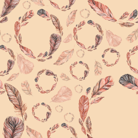 be the identity: seamless pattern of feathers, hand-painted watercolor. Brown and its shades. It can be used for the development of a corporate identity, an invitation to the wedding, boho party, background site Stock Photo