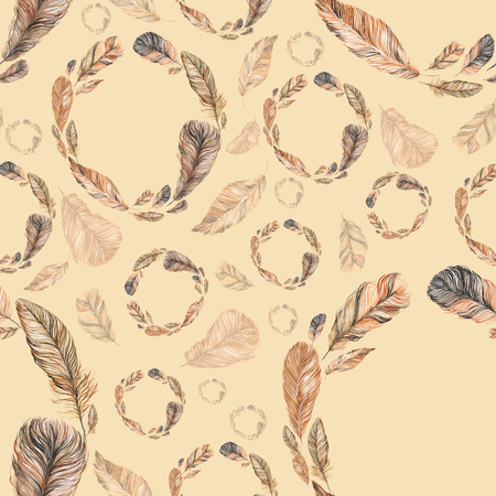 seamless pattern of feathers, hand-painted watercolor. Brown and its shades. It can be used for the development of a corporate identity, an invitation to the wedding, boho party, background site Stockfoto
