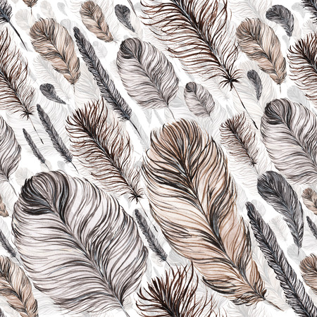 seamless pattern of feathers, hand-painted watercolor. Grey and its shades. It can be used for the development of a corporate identity, an invitation to the wedding, boho party, background site