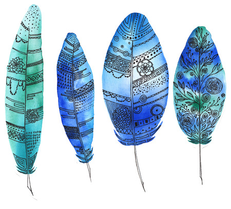 수채화 및 라이너, 밝은 빨간색, 아즈텍 패턴, boho 요소, 원, 선, 점, 대시, 만다라로 그려진 깃털 세트. 인쇄, 액세서리의 요소로 사용할 수 있습니다