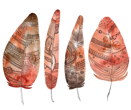 set of feathers, painted in watercolor and Liner, bright red color, with Aztec patterns, boho elements, circles, lines, dots, dashes, mandalas. can be used as an element of printing, accessories