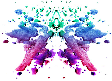 blue-green watercolor symmetrical Rorschach blot on a white background 版權商用圖片
