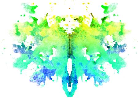 밝은 노란색 - 녹색 수채화 대칭 심리 흰색 배경에 오 점