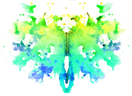 bright yellow-green watercolor symmetrical Rorschach blot on a white background