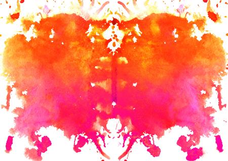 흰색 배경에 빨간색 - 오렌지 수채화 대칭 Rorschach 오 점