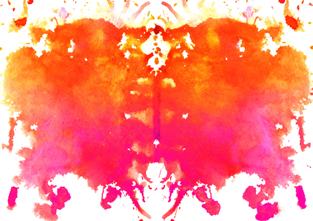 red - orange watercolor symmetrical Rorschach blot on a white background